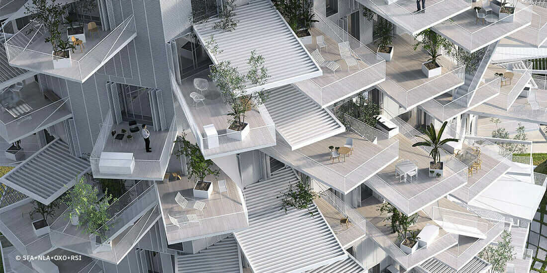 Sou Fujimoto's L'arbre Blanc housing tower, under construction in Montpeller, France.