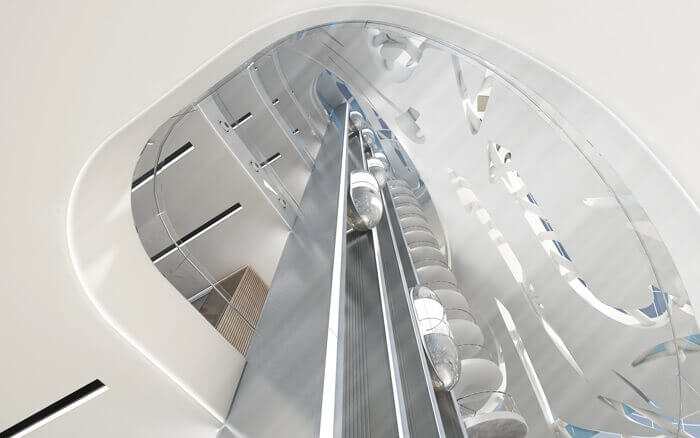 Design of elevators in Dubai's Museum of the Future.