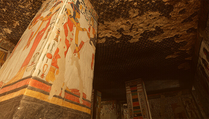 A closeup image of an Egyptian tomb with fine details rendered through photogrammetry.
