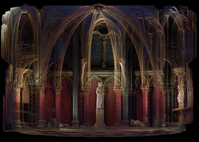 Numérisation 3D : la Sainte Chapelle à Paris reproduite en nuage de points.