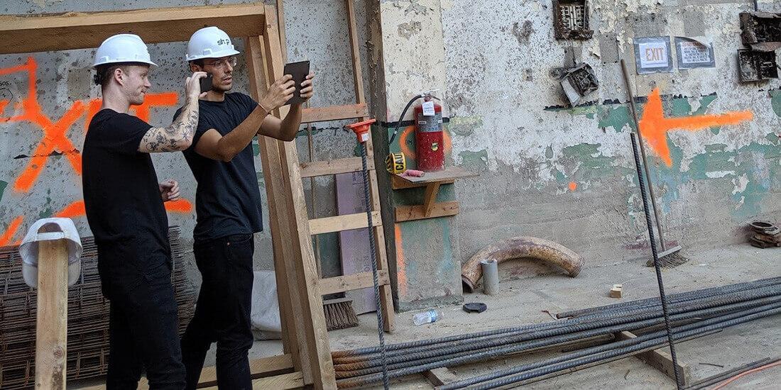 vr building design shop architects staff using ar app on jobsite