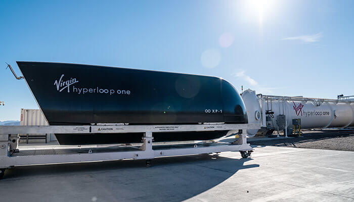 Capsule et piste d'essai de l'Hyperloop One