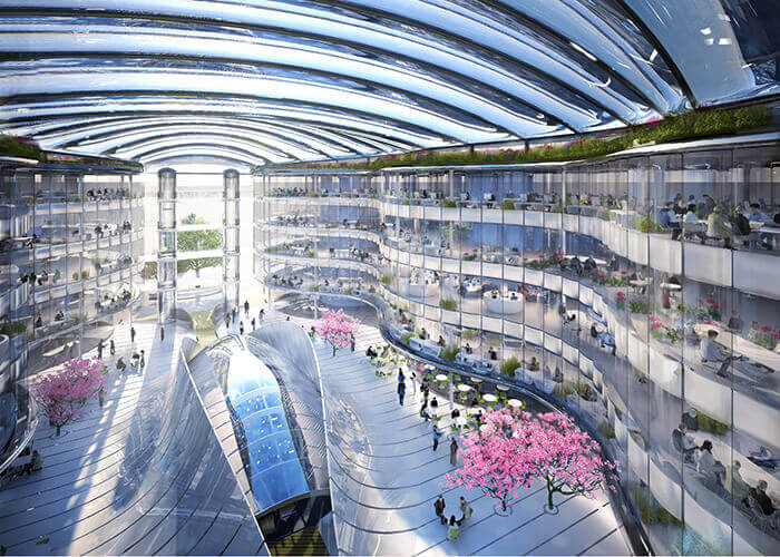 Exemple de biomimétisme en architecture : intérieur du Biomimetic Office Building.