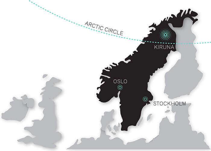 Déménagement de Kiruna : la carte de la Suède