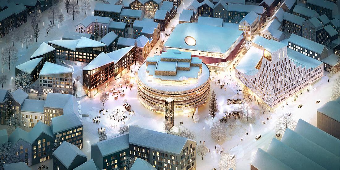 Rendu de la nouvelle ville de Kiruna avec l'hôtel de ville au milieu