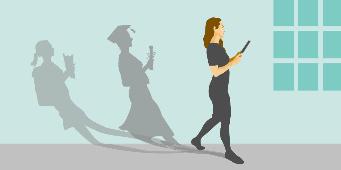 Illustration d'une femme passant partrois phases d'education