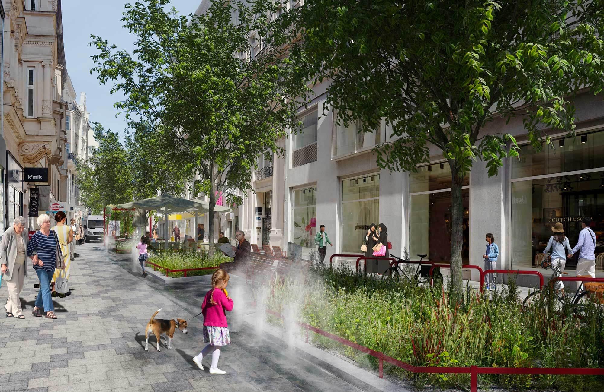 La Zollergasse sera également végétalisée et rafraîchie par des jets d'eau d'ici l'été 2021, et les places de parking cèderont la place aux arbres