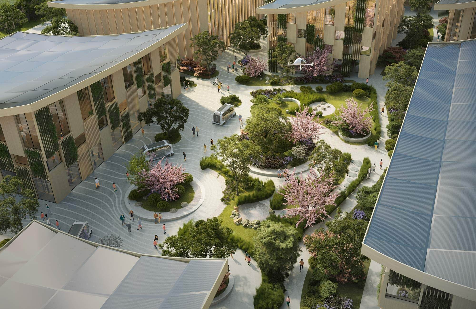 Végétation indigène et maisons en bois japonaises traditionnelles font partie des plans du cabinet d'architectes danois BIG pour la « Woven City »