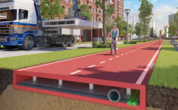 construction technology 2017 building bike paths out of recycled LEGO-like plastic blocks