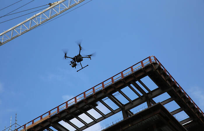 A drone captures site data above Uber's new headquarters in San Francisco.