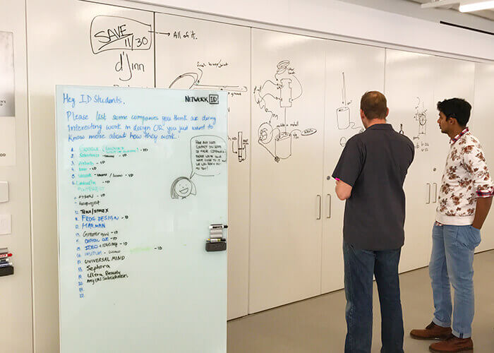 tech incubator students collaborate dry erase wall