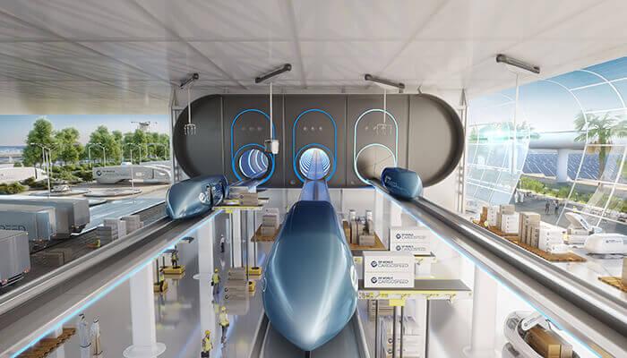 La visione di Hyperloop One per il trasporto merci.