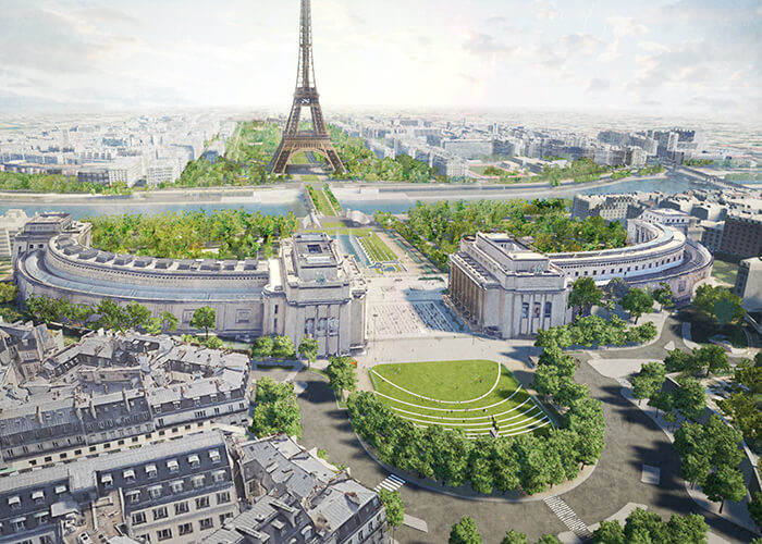 The OnE project by Gustafson Porter + Bowman will restore greenery to the axis between the Trocadéro, in the foreground, and the Military Academy, in the background.