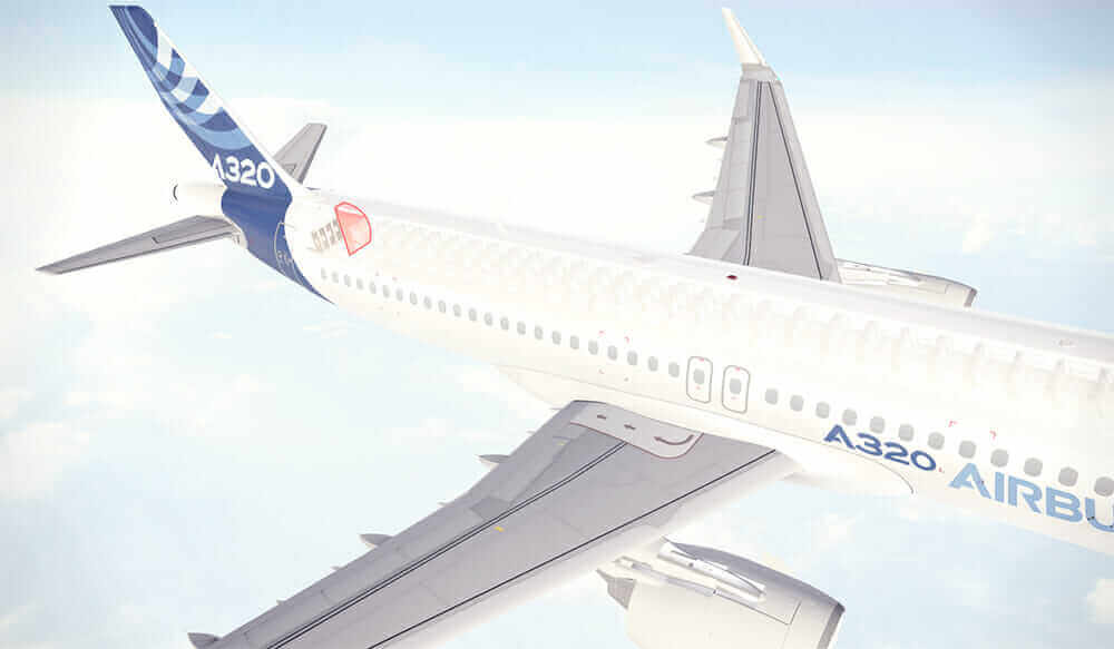 Posizionamento della partizione bionica sull'Airbus A320.