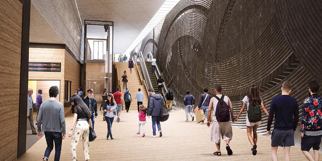 Un render della nuova stazione Mount Eden di Auckland.