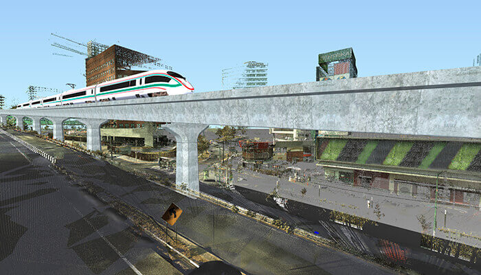 An illustration of what the high-speed rail and its trains would look like.