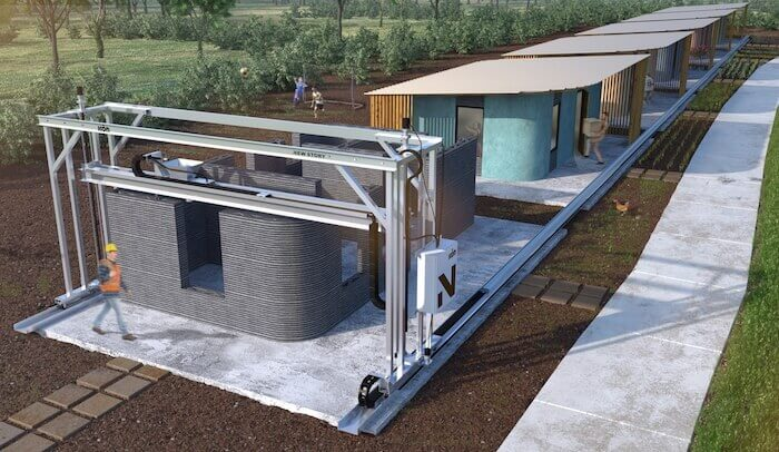 concrete printed house vulcan 3d printer