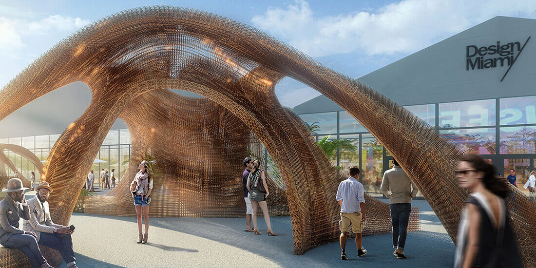 A rendering of a 3D-printed bandshell.