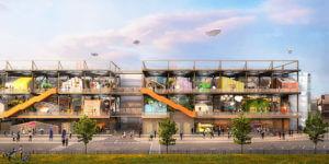 """Un diseño ingenioso convierte una grúa pórtico en """"colonia vertical"""" de bajo costo para creativos"""