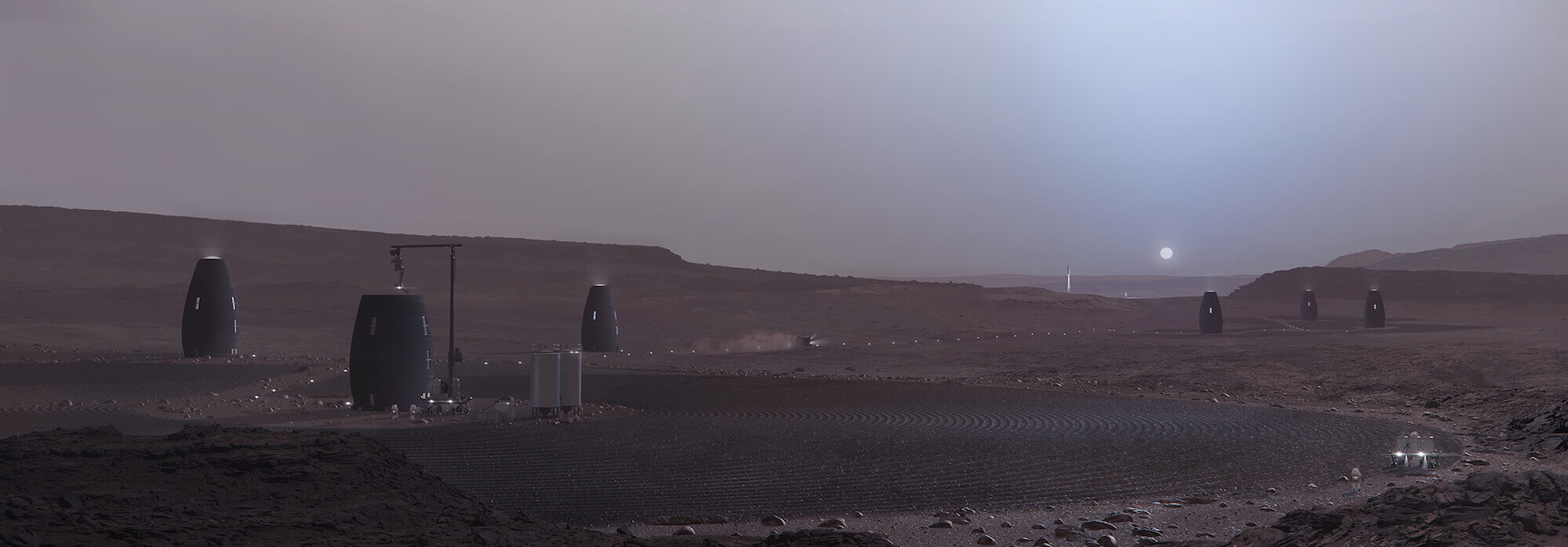 mars habitat robot harvests local materials
