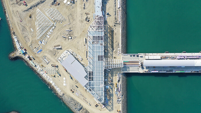 Vista aérea de la Terminal de Cruceros de Amador, en febrero de 2020. Gentileza Mallol Arquitectos.