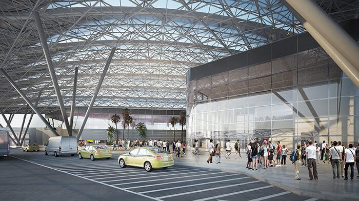 Una gran cubierta metálica de 16 000 metros cuadrados se levanta por encima de otros edificios de la terminal para protegerlos de las inclemencias del tiempo. Gentileza Mallol Arquitectos.
