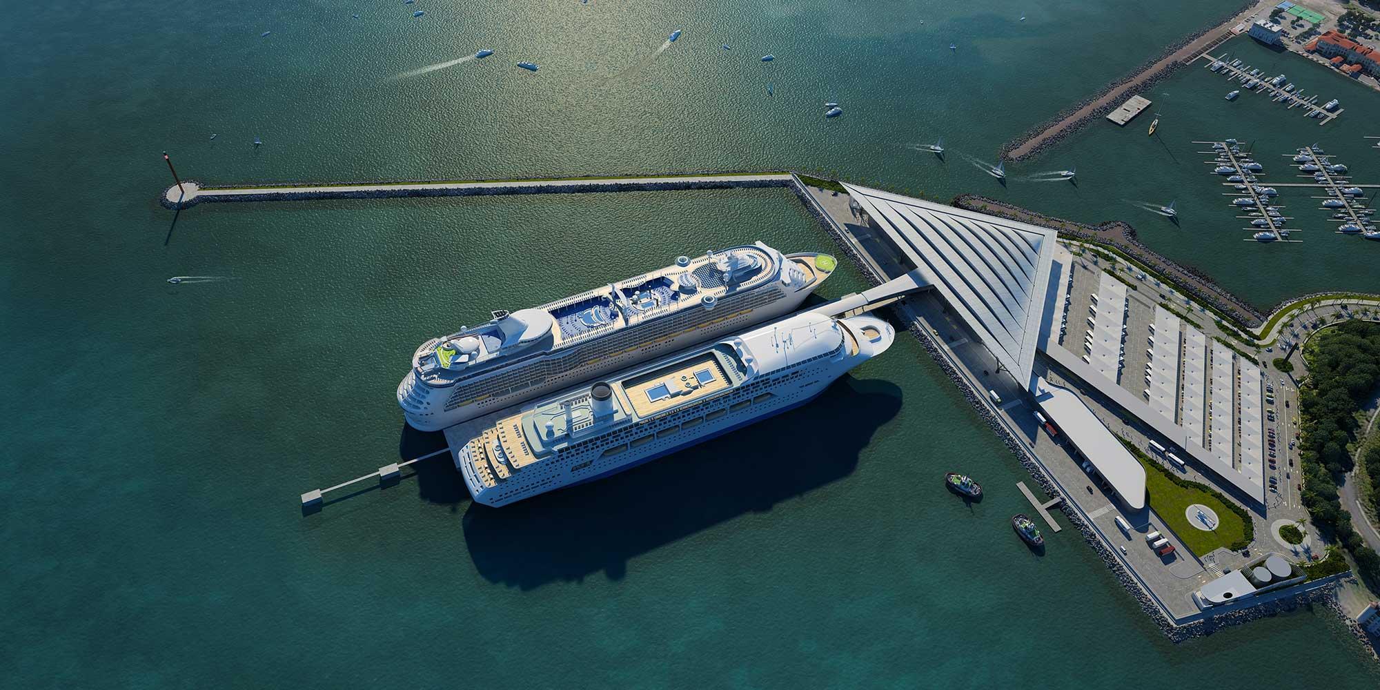 La nueva Terminal de Cruceros de Amador tendrá un muelle apto para recibir dos barcos de gran porte al mismo tiempo. Gentileza Mallol Arquitectos.
