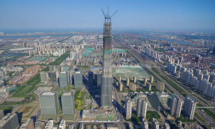 prefab construction Tianjin Chow Tai Fook Financial Center under construction