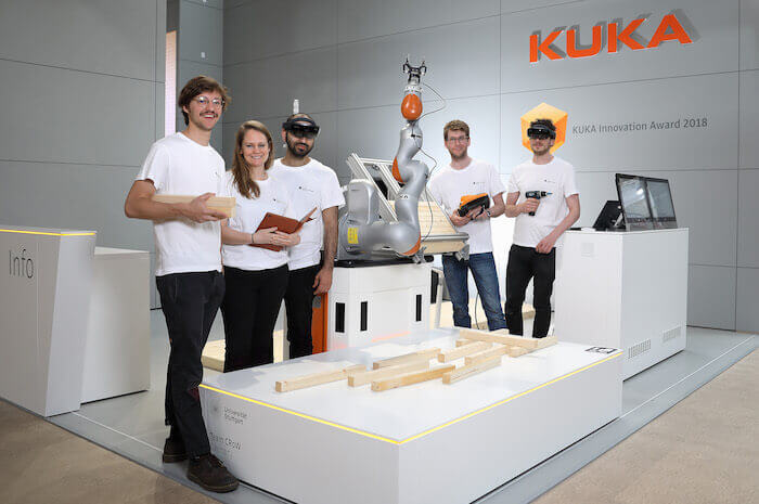 A team from the Institute for Computational Design and Construction (ICD) at the University of Stuttgart demonstrated CRoW at this year's KUKA Innovation Awards.