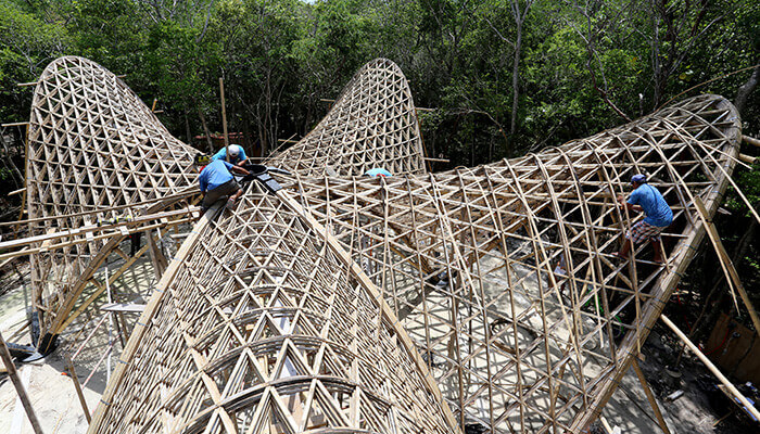 bamboo construction assembling the luum temple