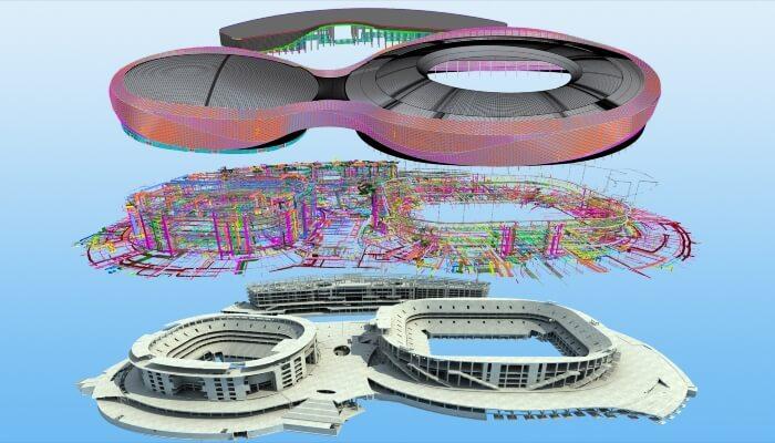 建筑结构、MEP(机械、电气和管道)和幕墙的 BIM 模型