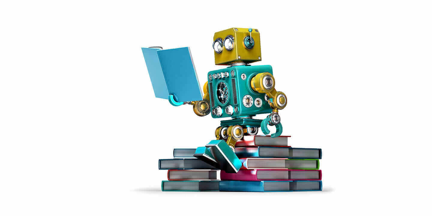 machine learning robot with books