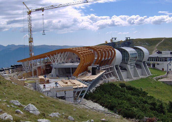 modular stadium construction structure surrounding the cableway on Italy's Lake Garda