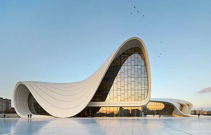 The curved roof and entrace of the Heydar Aliyev Center in Baku, Azerbaijan.