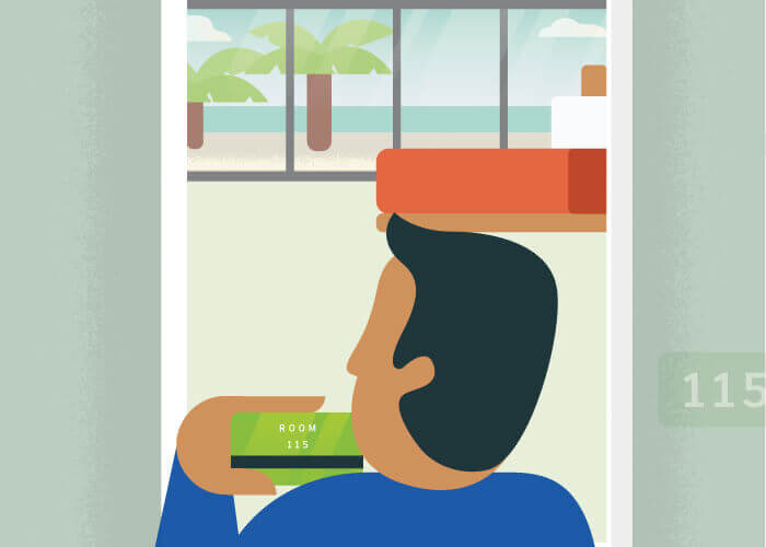 Illustration of a man entering room 115 at a tropical resort.