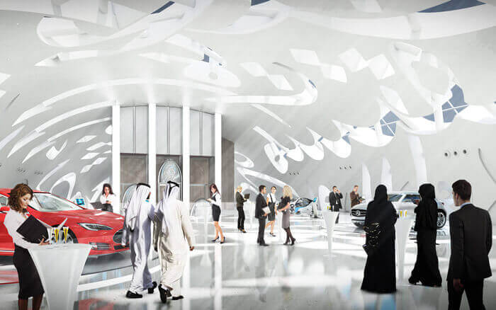 Rendering of interior of Dubai's Museum of the Future featuring futuristic technologies from various industries