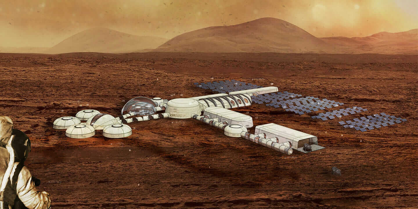 A rendering of the virtual Mars City base.