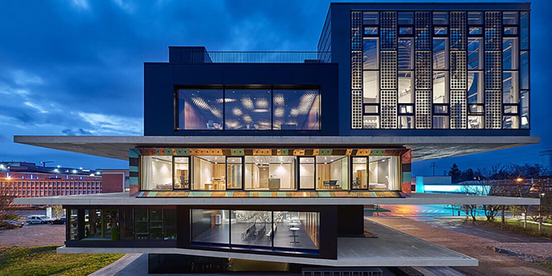 futuristic building nest zurich