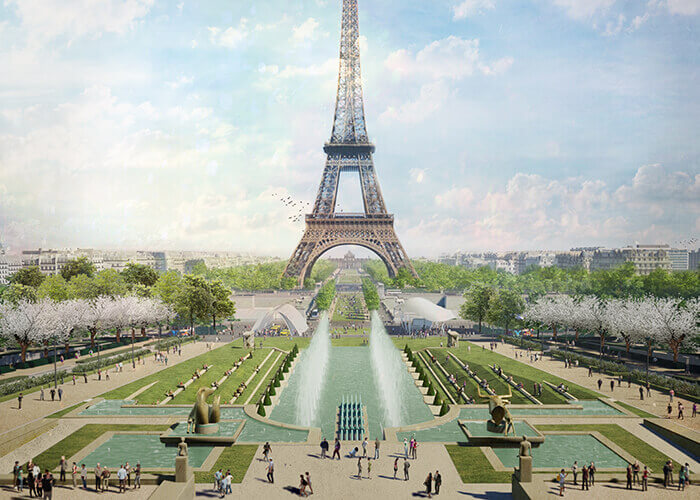 paris trocadero çeşmesi eyfel kulesi peyzajı